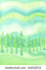 Hand-painted watercolor of evergreen trees on a hill, with a wavy abstract background in tones of green.