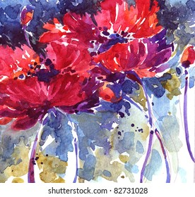 Hand-painted watercolor floral illustration