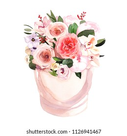 Hand-painted watercolor flower box with peonies and roses illustration on white background