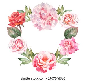 Hand-painted watercolor flower wreath frame with heart shape. Pink and white roses, peonies, green leaf ornament. Romantic vintage design template. Paper texture on white background.