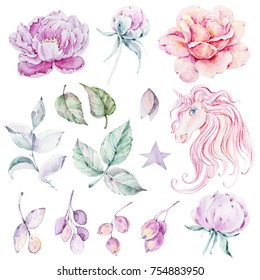 Handpainted watercolor flowers, leaves, berries and unicorn. Cute set on white background. Can be used for greeting cards, wedding invitations, decoration.