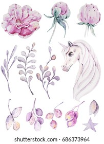Handpainted watercolor flowers,leaves, berries and cute unicorn.12 magic clipart of peony, leaves, branch, unicorn .Can be used for greeting cards,wedding invitations, Birthday cards.
