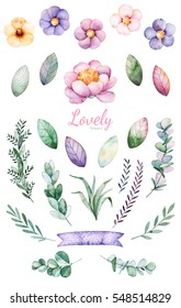 Handpainted watercolor flowers,leaves and cute unicorn.25 lovely clipart of peony,ribbon,leaves,branches and flowers.Can be used for your project,greeting cards,wedding,Birthday cards,bouquets,wreaths