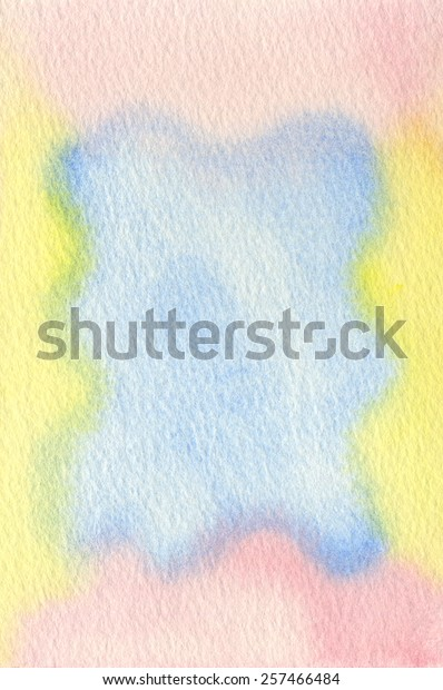Hand-painted watercolor frame in pastel tones of pink, blue and yellow.