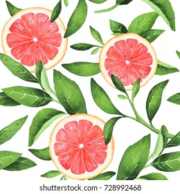 Hand-painted watercolor grapefruits pattern on white background