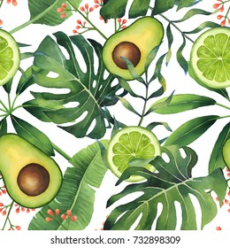 Hand-painted watercolor green tropical pattern on white background