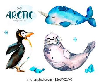 Hand-painted watercolor illustration set of arctic animals, penguin, narwhal and seal, isolated on white background.