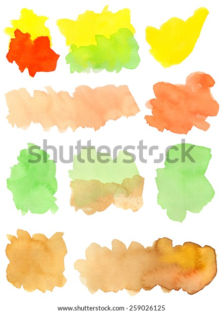 Hand-painted watercolor irregular shapes in orange, vermilion, yellow, green and brown tones. White background for easy cutout. Hand drawn with transparent watercolor paint on paper.
