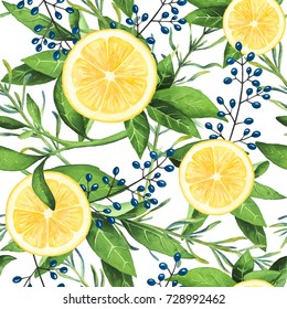 Hand-painted watercolor lemons pattern with berries on white background