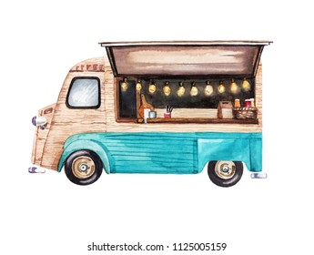 Hand-painted watercolor mobile coffee and snack van illustration on white background