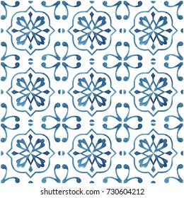 Hand-painted watercolor Portuguese tiles with blue ornament. Seamless pattern on white background