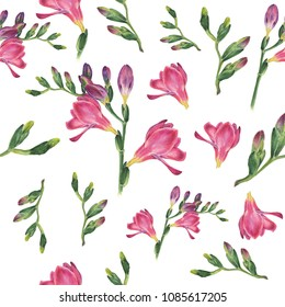 Handpainted watercolor seamless pattern with botanical watercolor illustration of freesia on white background. Could be used web design, polygraphy or textile