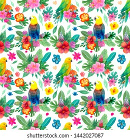 Hand-painted watercolor seamless patterns with tropical leaves, flowers and parrots
