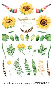 Handpainted watercolor sunflowers.31 bright watercolor clipart of sunflowers,leaves,branches,feathers,deer horns. Can be used for your project,greeting cards,wedding,cards,bouquets,wreaths,invitation