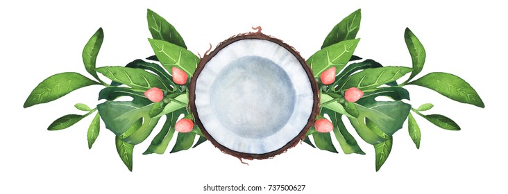 Hand-painted watercolor tropical composition on white background