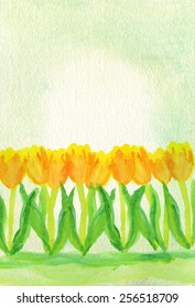 Hand-painted watercolor tulips in yellow, orange and green, with watercolor paper background painted with a very light green wash.
