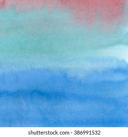 Hand-painted watercolor wash background.  Abstract painting. Hand drawn watercolour texture with soft transitions. Blue, red, green, brown, pink, aquamarine color.
