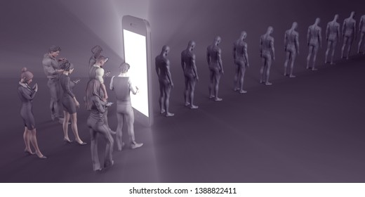 Handphone or Smartphone Addiction Among Adults Concept 3D Render