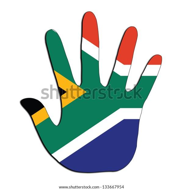 Handprint Flag Inside South Africa Stock Illustration 133667954