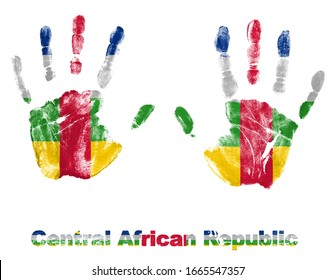 Handprints with Central African Republic Flag logo design