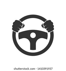 Hands behind wheel icon. Clipart image isolated on white background