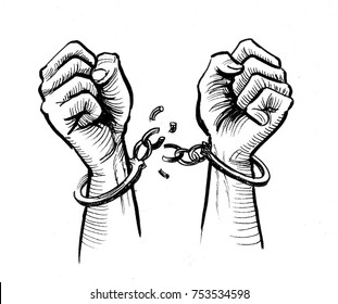 Hands breaking chains