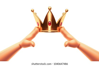 Hands cartoon are wearing a golden crown on head copy space isolated on isolated white background. Winner. Leader. Selfish person. Award ceremony concept. 3d render