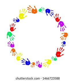 Hands in circle. Round frame on white background. Copy space. Handprint palms in rainbow colors.
