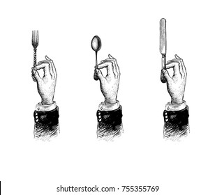 Hands with cutleries. Spoon, fork and knife. Vintage stylized drawing. Hand drawn illustration in a retro woodcut style
