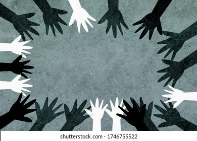 Hands of different colors and cultures of the world unite in a circle against racism. Design with a powerful anti-racism concept.