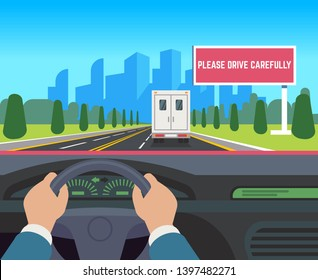 Hands driving car. Auto inside dashboard driver speed road overtaking street traffic travel billboard, flat illustration