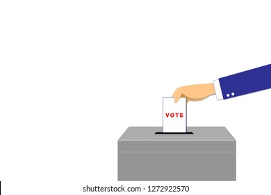 The hands is drop vote card into gray box and space for text on the left side. Drop the card into the box on white background with paths layer for selection.