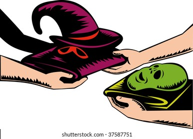 Hands exchanging halloween mask and costume