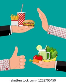 Hands with fast food and organic products. Diet, nutrition, fitness and weight loss or overweight and fat. Greasy cholesterol vs. vitamins from fruits vegetables. Food choice. Flat illustration