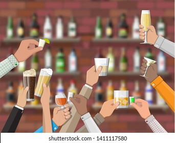 Hands group holding glasses with various drinks. Drinking establishment. Interior of pub cafe or bar. Bar counter, shelves with alcohol bottles. Celebration ceremony. Illustration in flat style