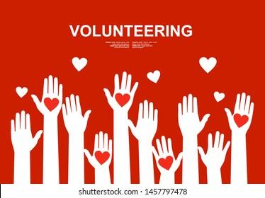 Hands with hearts. Raised hands volunteering concept