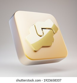 Hands Helping icon. Golden Hands Helping symbol on matte gold plate. 3D rendered Social Media Icon.