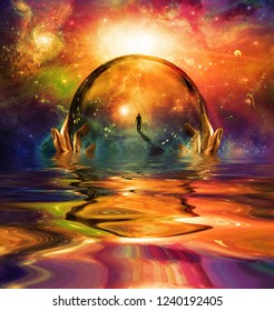 Hands hold glass sphere with man figure. Vivid universe with galaxies. 3D rendering