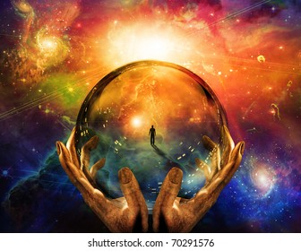Hands hold glass sphere with view of man