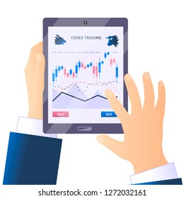 Hands hold a tablet with forex trade application. Stock market business infografics. Flat style illustration.