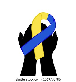 Hands hold with yellow blue ribbon. World down syndrome day. JPG illustration.