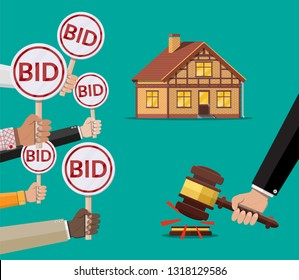 Hands holding auction paddle. Bid plate. Real estate, house building. Auction competition. illustration in flat style