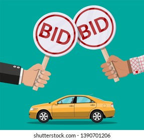 Hands holding auction paddle and car. Selling vehicle. Bid plate. Auction competition. illustration in flat style
