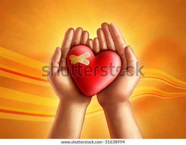 Hands holding a broken hearth, care and compassion concept. Digital illustration.