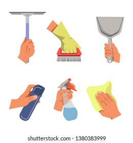 Hands holding cleaning tools and products  poster