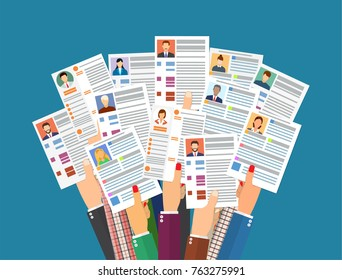 Hands holding cv resume documents. Human resources management concept, searching professional staff, work. Found right resume. illustration in flat style Raster version