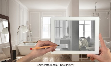 Hands holding and drawing on tablet showing total white bedroom and bathroom interior sketch. Real finished minimalist interior in the background, architecture design presentation, 3d illustration