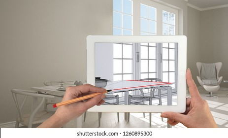 Hands holding and drawing on tablet showing classic kitchen, dining table laid for two, parquet, CAD sketch. Real finished interior background, architecture design presentation, 3d illustration