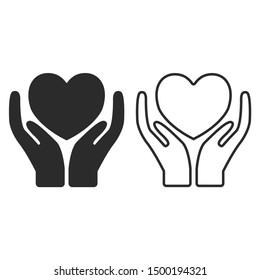 Hands holding heart icon. Charity design