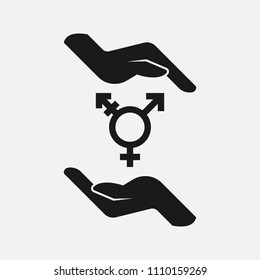 Hands holding lgbt symbol black and white  icon.